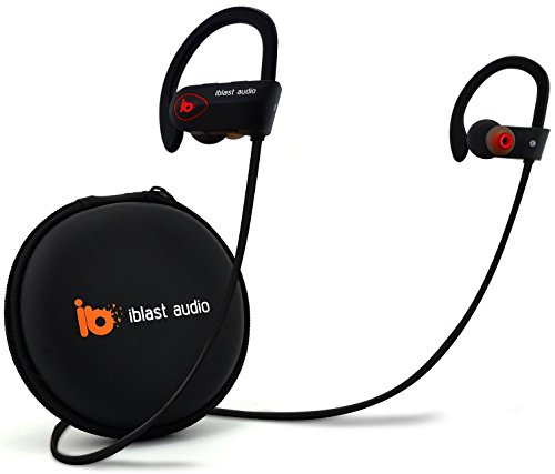 iblast audio Bluetooth Earbuds Best Wireless Headphone w/ Mic IPX7  Sweatproof Waterproof HD Stereo Earphone Running Workout Gym 8 Hour Long  Battery