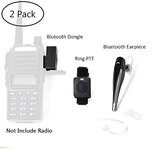 Twayrdio 2 Pin Wireless Two Way Radio Earpiece Bluetooth Walkie Talkie Headset With Ptt For Kenwood Baofeng Bf 888s Puxing Wouxun 2 Pack Sound That Out
