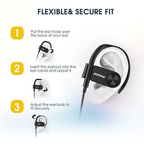 Mpow D2 Bluetooth Headphones up to 16 Hours Playback, Ipx7 Waterproof  Wireless Earbuds Sport Headphones with Remote and Mic, Secure Fit for Gym