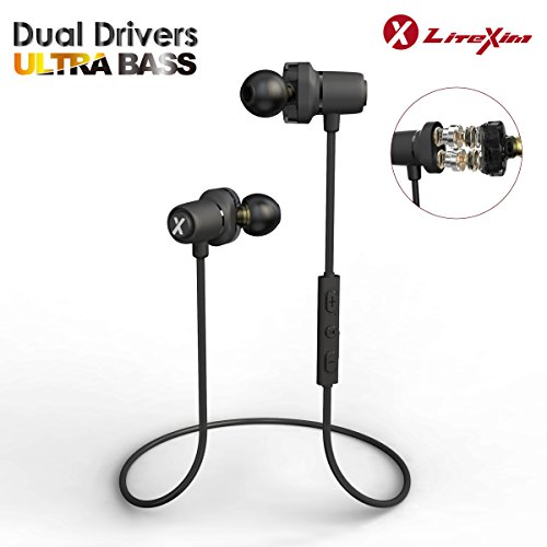 LiteXim H10 Bluetooth Dual Driver Earbuds, High Fidelity Sound Quality and  Ultra Bass, Comfort Sport Wireless Earphone Graphene Driver and Built-in