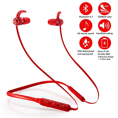 Bluetooth Headphones Wireless Sports Earbuds Neckband Headset With Mic Magnetic Earphones Noise Cancelling Hd Stereo Headphones Waterproof Sweatproof For Running Gym Workout Standby Up 380 Hours Red Sound That Out