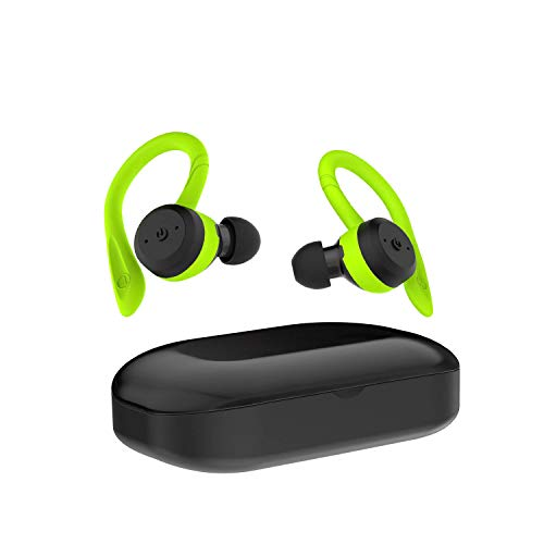 Cyboris Bluetooth 5 0 Headset Tws Dual Headset True Wireless Ipx7 Waterproof With Ear Hook In Ear Noise Canceling Headphones Green Sound That Out