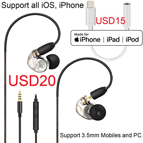 5cbb02239b1 Dairle Z11 iPhone Adaper Headphones with 3.5mm Musician Earhook ...