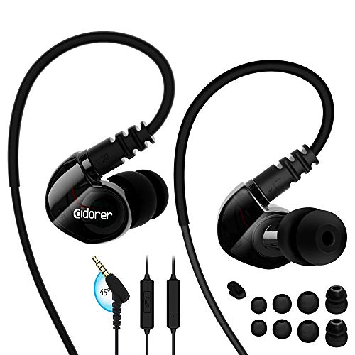Adorer Sports Headphones RX6 Wired Earphones with Microphone and Memory  Earhook, Running Earbuds for iPhone, iPad, Samsung, Smartphone, MP3 Player  and
